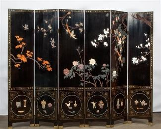 Lot 73: Coromandel Screen with Hardstone and Shell Inlay, 20th