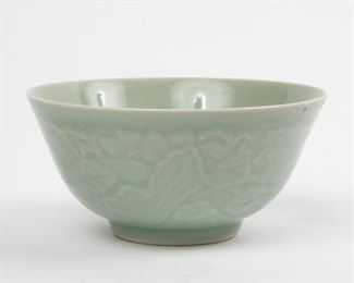Lot 75: Chinese Carved Celadon Bowl