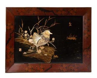 Lot 78: Japanese Shibayama Panel with Shell and Bone Inlay