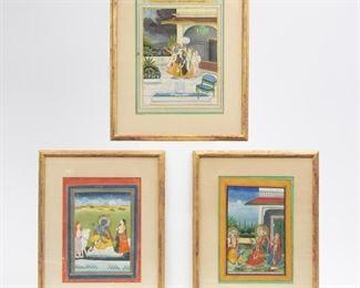 Lot 79: Three Gouache Krishna Paintings