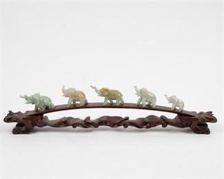 Lot 80: Five Chinese Jade Elephants, 20th c.