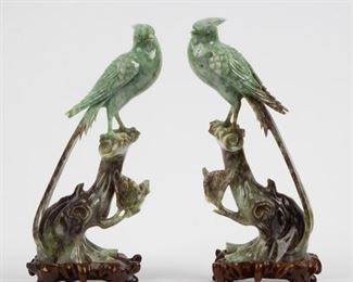 Lot 81: Pair of Chinese Carved Saussurite Birds, 20th c.