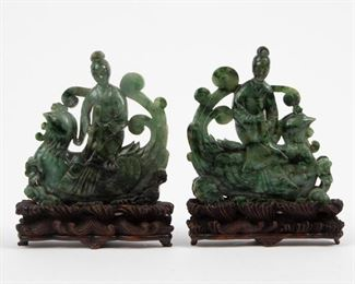 Lot 83: Pair of Chinese Carved Saussurite Immortals, 19th/20th c.