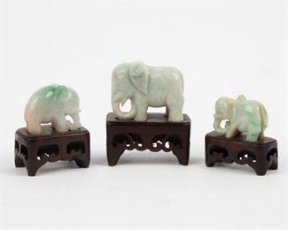 Lot 85: Chinese Carved Celadon Jadeite Jade Elephants, 20th c.