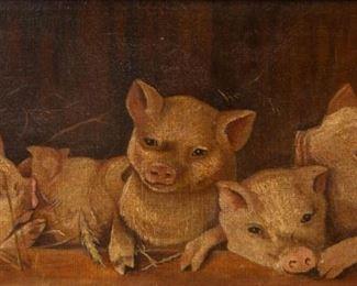 Lot 103: Antique Piglets Oil on Canvas