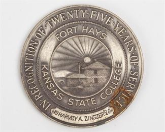 Lot 118: Sterling College Service Medal