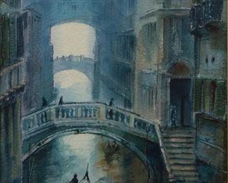 Lot 122: Asterio Pascolini Venice Watercolor