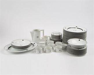Lot 129: Swid Powell 'Tuxedo' 57-Piece Dinnerware Set