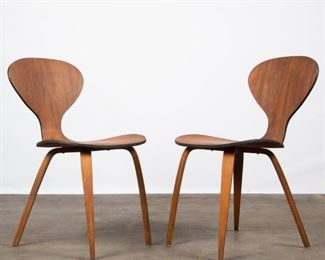 Lot 140: Two Modern Molded Plywood Side Chairs