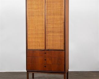 Lot 147: Florence Knoll (Attr.) Walnut Cabinet with Cane Doors