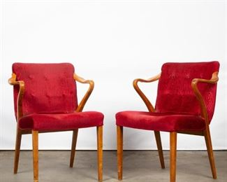 Lot 150: Pair of Modern Curved Arm Chairs