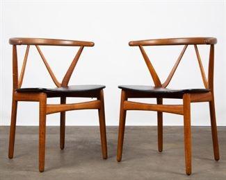 Lot 154: Pair of Bruno Hansen Teak Wishbone Chairs