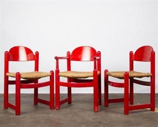 Lot 157: Three Italian Mid-Century Rush-Seat Chairs