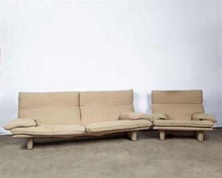 Lot 158: Niels Eilersen Modern Linen Sofa and Armchair