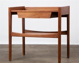Lot 160: Jens Risom Walnut Nightstand with Leather Shelf