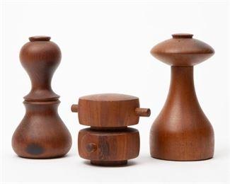 Lot 164: Three Jens Quistgaard Salt Shaker/ Peppermills