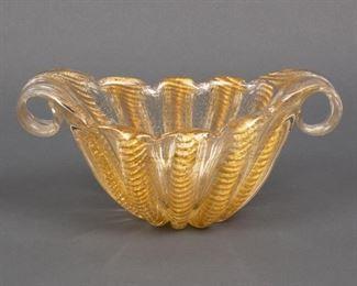 Lot 168: Barovier & Toso Murano Gold-Fleck Art Glass Bowl
