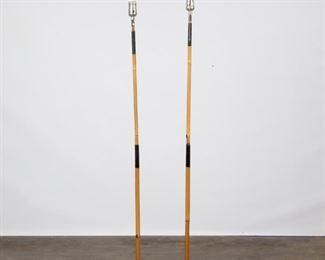 Lot 169: Pair of Noguchi Akari Bamboo Floor Lamps