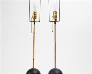 Lot 170: Pair of Noguchi Akari Bamboo Table Lamps