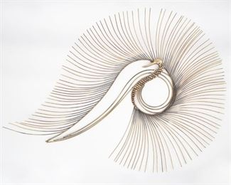 Lot 180: Curtis Jere 1989 Peacock Wall Sculpture