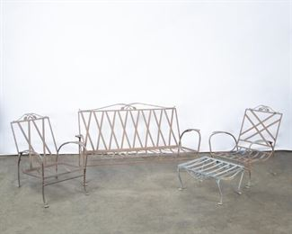 Lot 188: Salterini Mid-Century Iron Sofa and Two Lounge Chairs