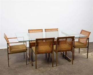 Lot 191: 1960s Lane Modern Rosewood & Brushed Metal Dining Set