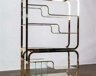 Lot 201: Milo Baughman for DIA Adjustable Brass Etagere