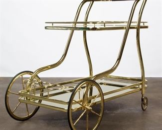 Lot 202: Hollywood Regency Two-Tier Tea Cart