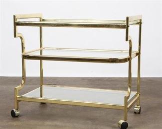 Lot 203: Brass and Glass Tea Cart