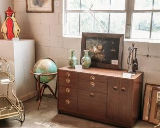 Items from Art + Design Online Auction staged for the open house preview July 11th from 5pm - 8pm at 901 Woodswether Rd. Kansas City, MO 64105