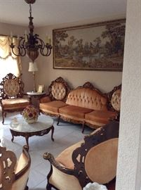 Elegant beautifully upholstered Parlor Set with sofa, loveseat and 3 armchairs!