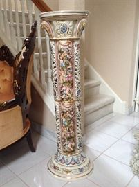 """Marked Capodimonte 41"""" high pedestal with high relief"""