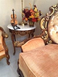 Marble-top occasional table ( one of pair)  with violin telephone!