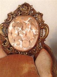 Parlor set has fabulous carved wood frames.