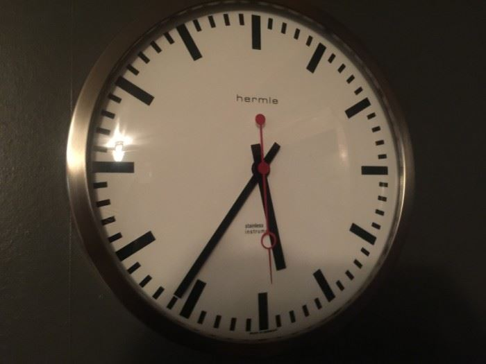 Hermie Stainless Steel Grand Central  Wall Clock - 12 inch diameter - $50