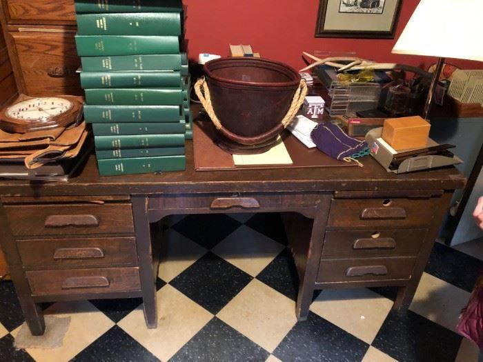 Old desk, Orvis leather bucket.