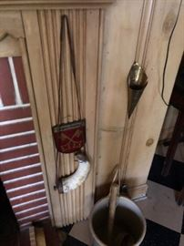 antique powder horn-sold.  4  German painted panels.