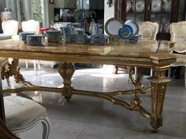 Gilt Louis XVI Marble Top Table with Stretcher Bar