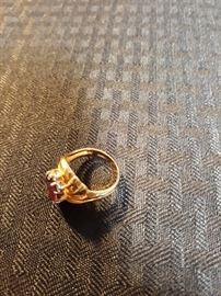 18K Gold Ring with stones and more