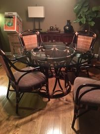 6 Piece Bernhardt Dining Table and 4 Chairs, coordinating side table $750