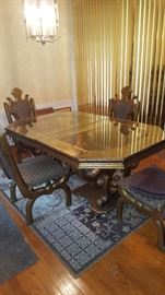 Dining Table with Fours chairs & one Leaf