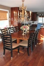 Dining Table with Eight Chairs with A Casual Look and Chandelier with Decorative Items