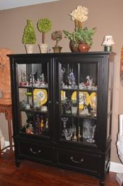 Curio with 2 Drawers and LOADS of Decorative Items including Decorative Plates and Bric-A-Brac