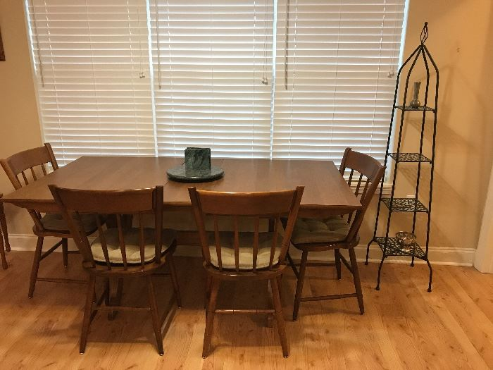 Heywood Wakefield dining table and 6 chairs, tiered metal stand