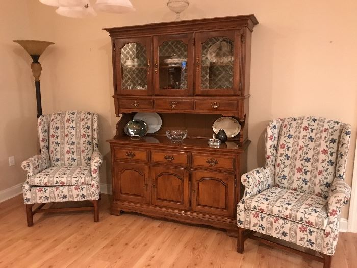 Heywood Wakefield china cabine(SOLD).                        pair of wing chairs