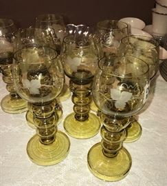 beautiful antique set of green/amber champagne glasses with ivy etching