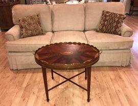 Henredon sofa, inlaid Baker tea table