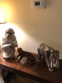 Ceramic Monkey, Elephant, Leopard, all made in Italy