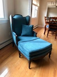 Chair & ottoman, newly upholstered