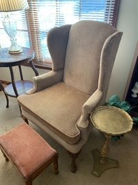 Pair of Wingback Chairs and Great Goldleaf Accent Table